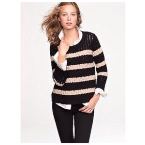 J. Crew Chainlink Cable Knit Merino Wool Sweater